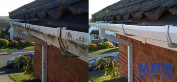 Before and after pictures of the simple gutter cleaning process of gutters in Windsor Berkshire